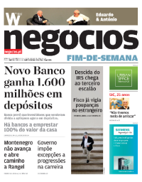 capa Jornal de Negócios de 8 outubro 2017