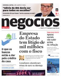 capa Jornal de Negócios de 9 outubro 2017