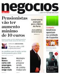 capa Jornal de Negócios de 10 outubro 2017