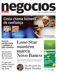 capa Jornal de Negócios de 19 outubro 2017