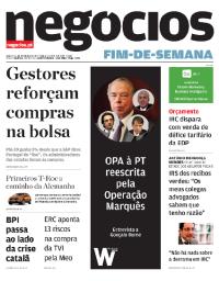 capa Jornal de Negócios de 20 outubro 2017