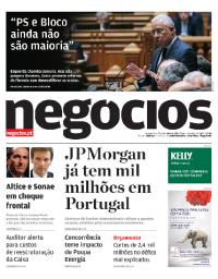 capa Jornal de Negócios de 25 outubro 2017