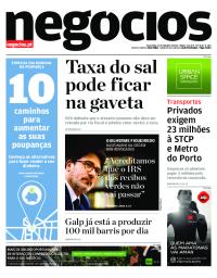 capa Jornal de Negócios de 31 outubro 2017
