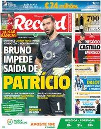 capa Jornal Record de 1 junho 2018