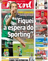 capa Jornal Record de 1 setembro 2018