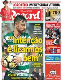 capa Jornal Record de 2 julho 2018
