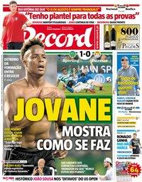 capa Jornal Record de 2 setembro 2018
