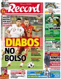 capa Jornal Record de 3 junho 2018