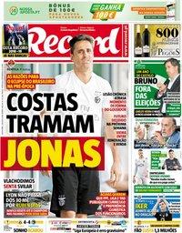 capa Jornal Record de 3 agosto 2018