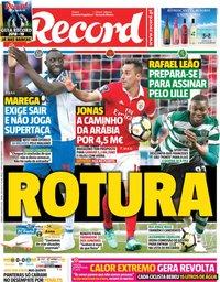 capa Jornal Record de 4 agosto 2018