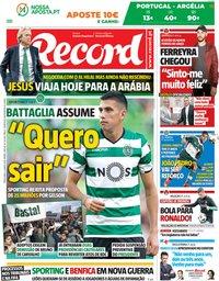 capa Jornal Record de 5 junho 2018