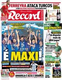 capa Jornal Record de 5 agosto 2018