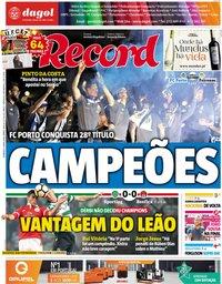 capa Jornal Record de 6 maio 2018