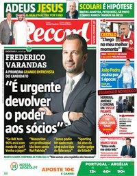 capa Jornal Record de 6 junho 2018