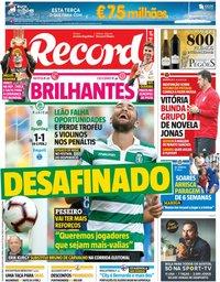 capa Jornal Record de 6 agosto 2018
