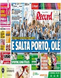 capa Jornal Record de 7 maio 2018