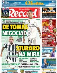 capa Jornal Record de 7 agosto 2018