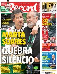 capa Jornal Record de 8 maio 2018