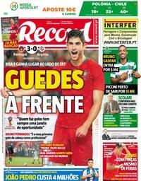 capa Jornal Record de 8 junho 2018