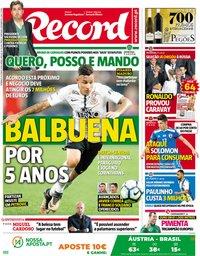 capa Jornal Record de 10 junho 2018