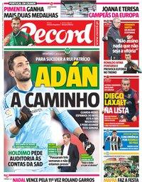 capa Jornal Record de 11 junho 2018