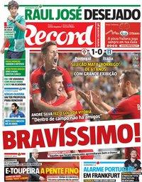 capa Jornal Record de 11 setembro 2018