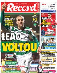 capa Jornal Record de 13 março 2018