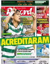 capa Jornal Record de 13 abril 2018