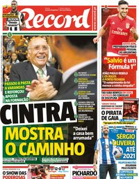 capa Jornal Record de 13 setembro 2018
