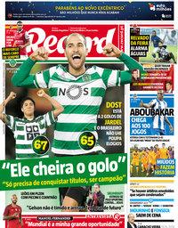 capa Jornal Record de 14 março 2018