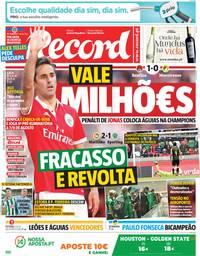 capa Jornal Record de 14 maio 2018