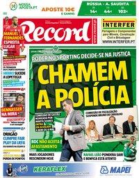 capa Jornal Record de 14 junho 2018