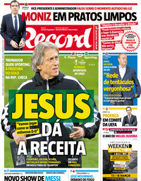 capa Jornal Record de 15 março 2018