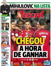 capa Jornal Record de 15 junho 2018