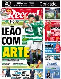capa Jornal Record de 15 julho 2018