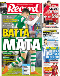 capa Jornal Record de 16 março 2018