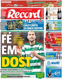 capa Jornal Record de 16 julho 2018
