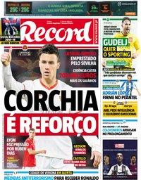 capa Jornal Record de 16 agosto 2018