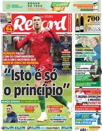 capa Jornal Record de 17 junho 2018