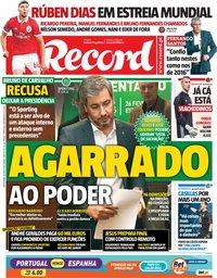 capa Jornal Record de 18 maio 2018