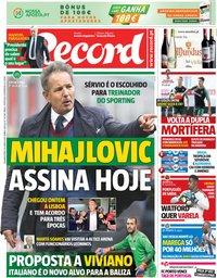 capa Jornal Record de 18 junho 2018