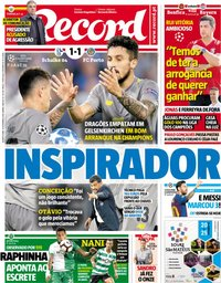 capa Jornal Record de 19 setembro 2018
