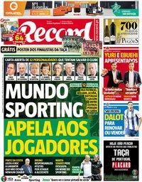 capa Jornal Record de 20 maio 2018