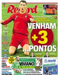 capa Jornal Record de 20 junho 2018
