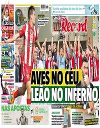 capa Jornal Record de 21 maio 2018