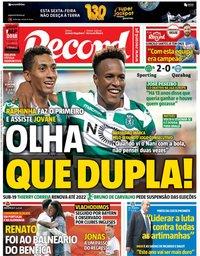 capa Jornal Record de 21 setembro 2018