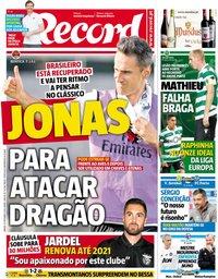 capa Jornal Record de 22 setembro 2018