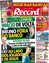 capa Jornal Record de 23 maio 2018