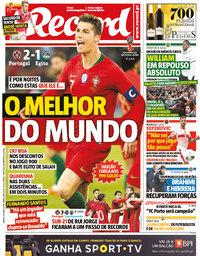 capa Jornal Record de 24 março 2018