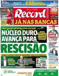 capa Jornal Record de 24 maio 2018